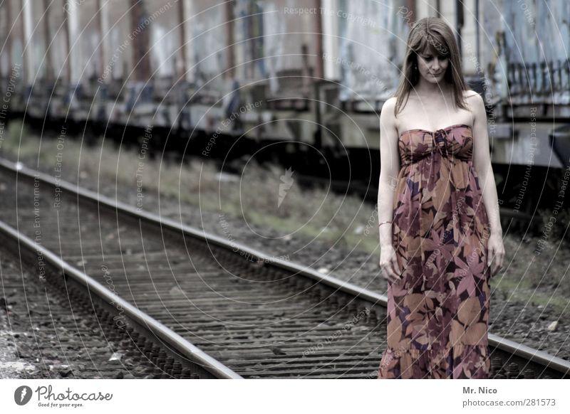 Loneliness Feminine Sadness Think Fashion Skin Meditative Lifestyle Dress Logistics Serene Railroad tracks Brunette Shoulder Long-haired Train station