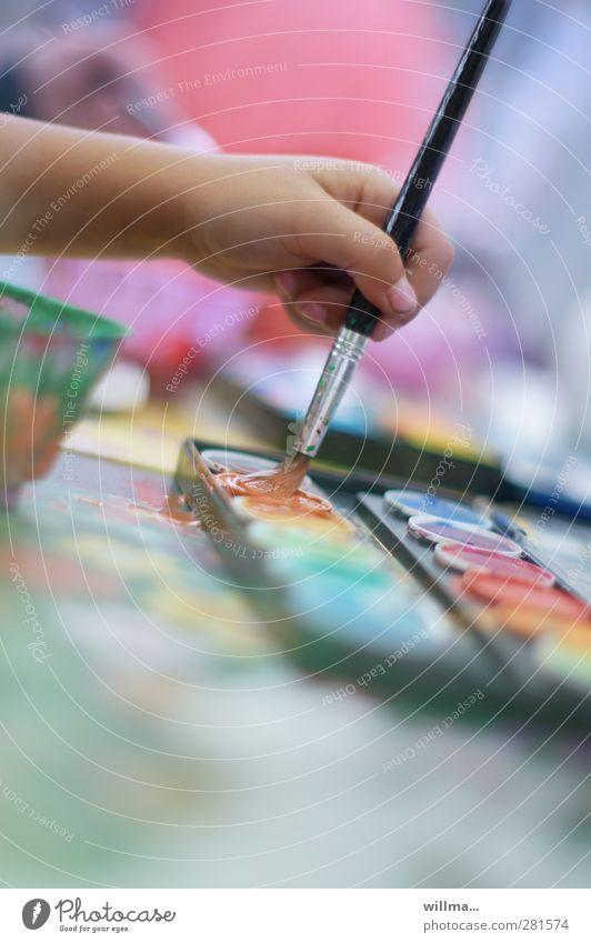 Child Hand Colour Joy Infancy Leisure and hobbies Fingers Painting (action, artwork) Creativity Kindergarten Paintbrush Parenting Fantasy Schoolchild