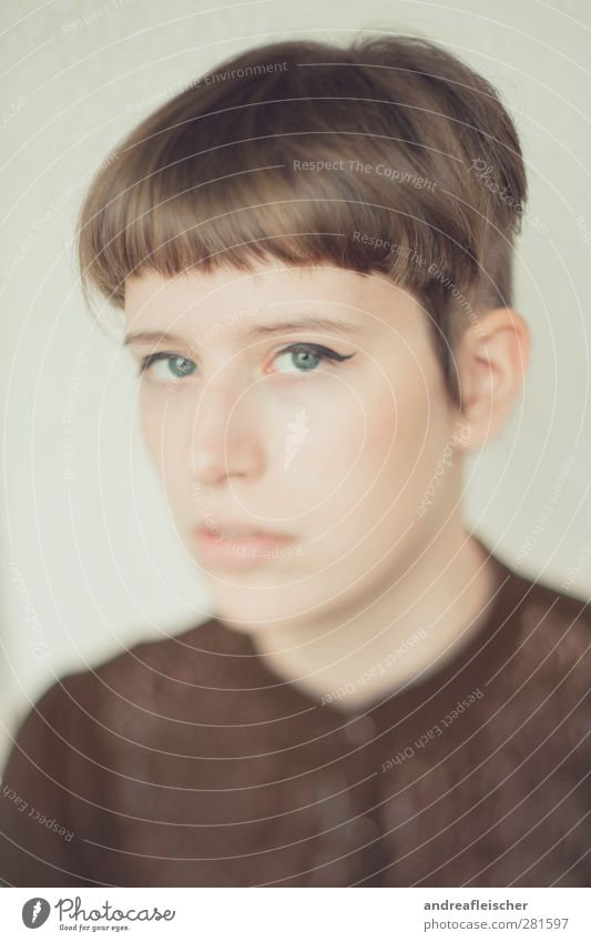 Madame. Feminine Young woman Youth (Young adults) Woman Adults 1 Human being 18 - 30 years T-shirt Brunette Short-haired Bangs Looking Smooth Calm Picturesque