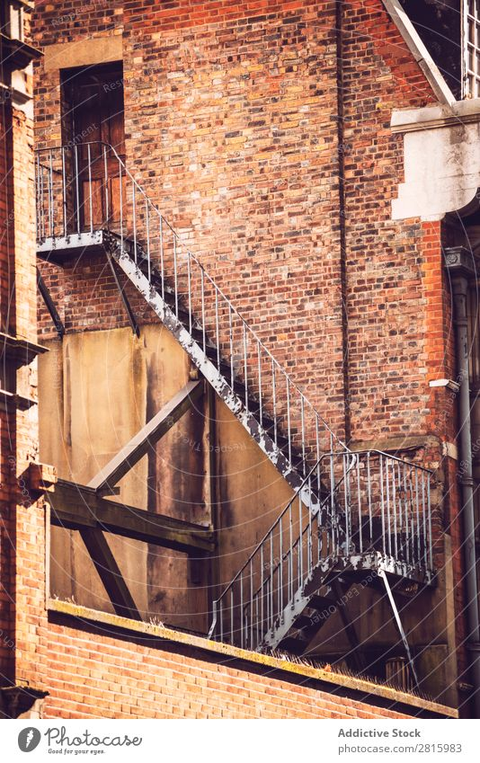 Fire ladder outside old building Ladder Architecture London Brick Wall (building) Building Structures and shapes Town Exterior England City Great Britain Europe