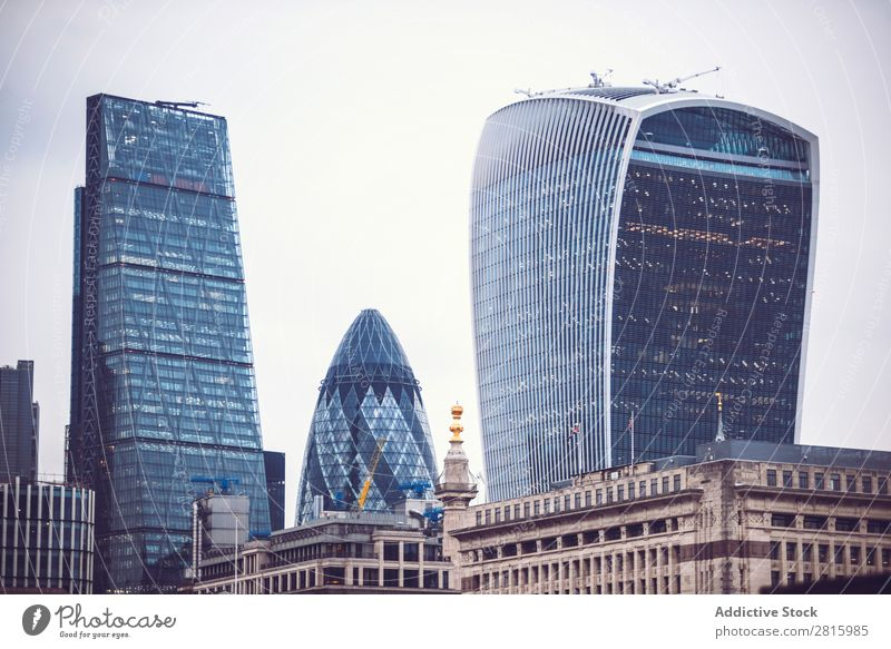 Cityscape of London Skyline High-rise Architecture Great Britain Town Business Tourism England Landmark Financial Industry Day Horizontal Deserted Building