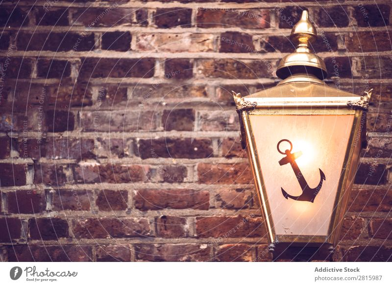 Background of brick wall with lantern Brick wall Consistency Lantern Wall (building) Old Pattern Decoration Lamp Anchor Illustration Tracks Light Universe