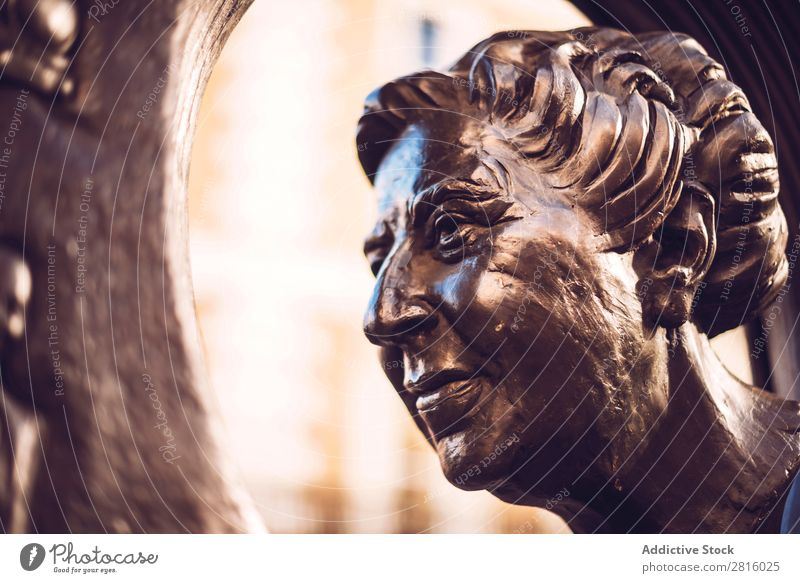 LONDON, UK - OCTOBER 14, 2016: Face of Agatha Christie agatha christie Statue Monument Sculpture Art Head Historic Culture Human being Vintage Architecture