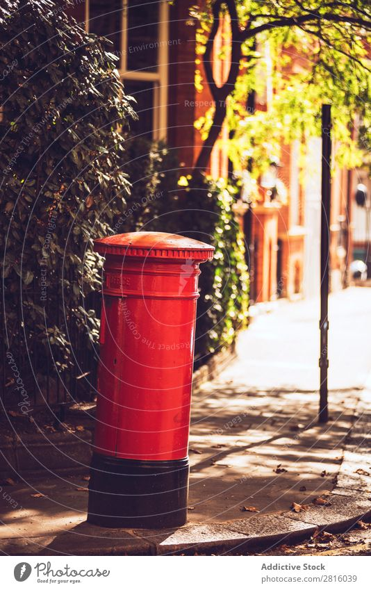 Red London mailbox Mailbox England English Great Britain Box Communication letterbox national Street City Town Vertical Exterior shot Deserted Copy Space