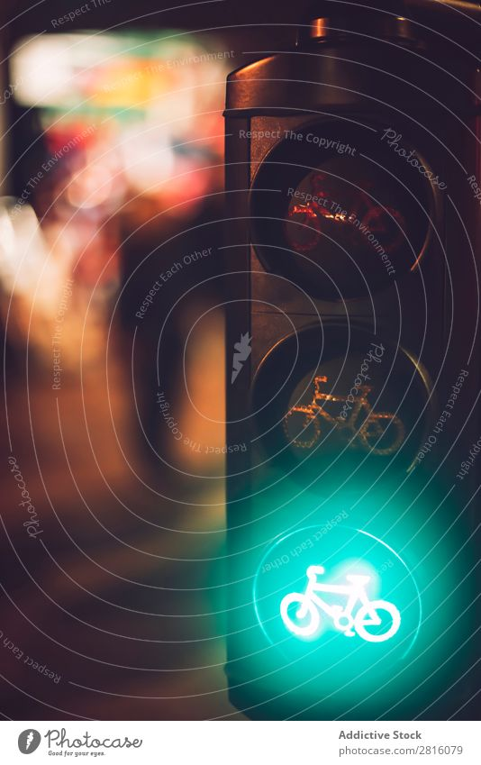 Close up crop traffic lights with bicycle sign burning in green Transport Light Sign Street Safety Stop Warning Signal Testing & Control semaphore Town Regulate
