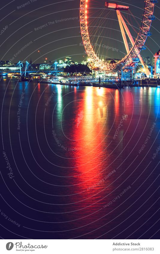 LONDON, UK - OCTOBER 13, 2016: Cropped shot of a London eye ferr London Eye Night Light England City Tourism Eyes Landmark thames Skyline River Great Britain