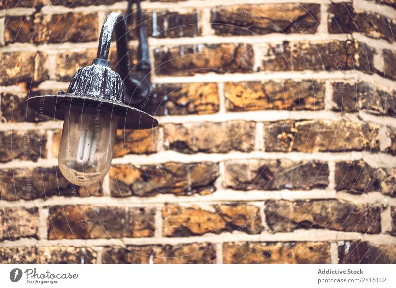 Textured brick wall with lantern Consistency Brick wall Lantern Background picture Wall (building) Old Pattern Lamp Decoration Design Grunge Light Style