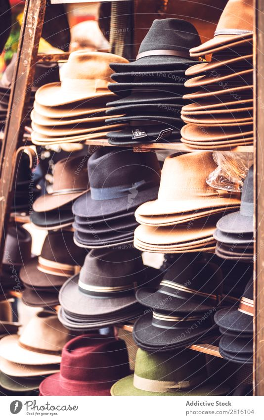 Fedora sale stall Markets Stall fedoras Accessory Style Summer Storage Fashion Hat Shopping Elegant Stack Accumulation Collection Retail sector Sale Tourism