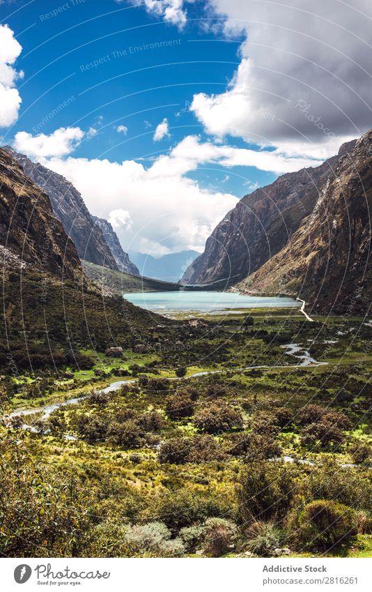 Beautiful valley tree in Huaraz, Peru, South America Adventure america Andes Background picture blanca Blue Clouds cordillera Destination Green Hiking huaraz
