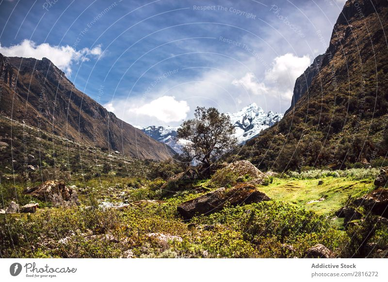 Beautiful valley in Huaraz, Peru, South America Adventure Andes Background picture Blue Clouds Destination Green