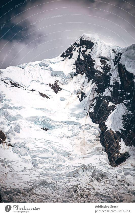 Beautiful snow covered mountain peak in the Cordillera Blanca range of Huascaran National Park, Peru Mountain Peak cruz Hiking glaciers Destination america