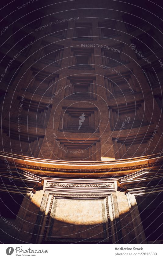 Interior of Rome Agrippa Pantheon, Italy Light Dome domed Landmark Roof Interior design Detail Italian Sunbeam historical Stone Vacation & Travel Marble