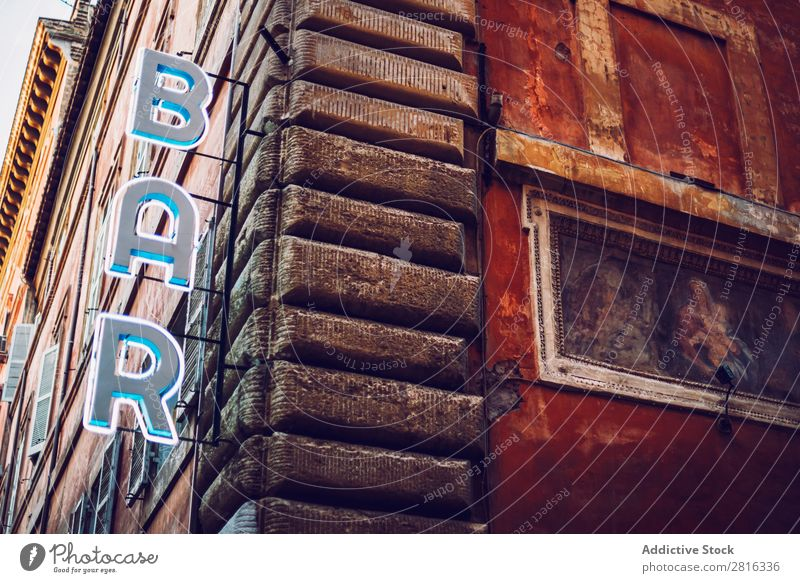 Detail of Rome city, Italy. Bar sign. Street Close-up Old Vintage European Exterior shot Ancient Italian Vacation & Travel Vantage point Town Landmark Culture