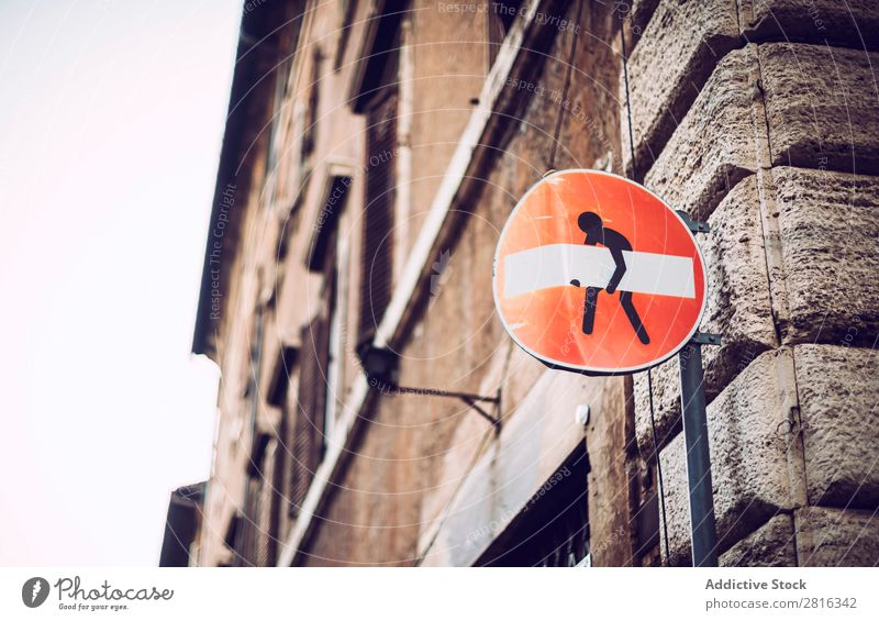 Icon a little man carrying the forbidden sign Badge Burden Business Businessman Comic Chain City Design Hand Heavy Hold Human being Humor Joke Man Metal Middle