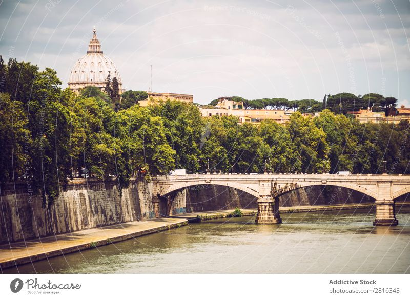 The Tiber river in Rome and St. Peter Basilica, Italy River Italian Vantage point Historic Old Vatican angelo Architecture peter Skyline castel Landmark Castle
