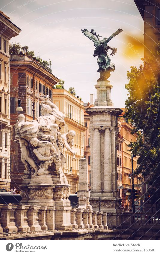 Beautiful street view of Rome, Italy Exterior shot Italian Street Destination Town Colour national Vacation & Travel Vantage point Landmark Culture scenery