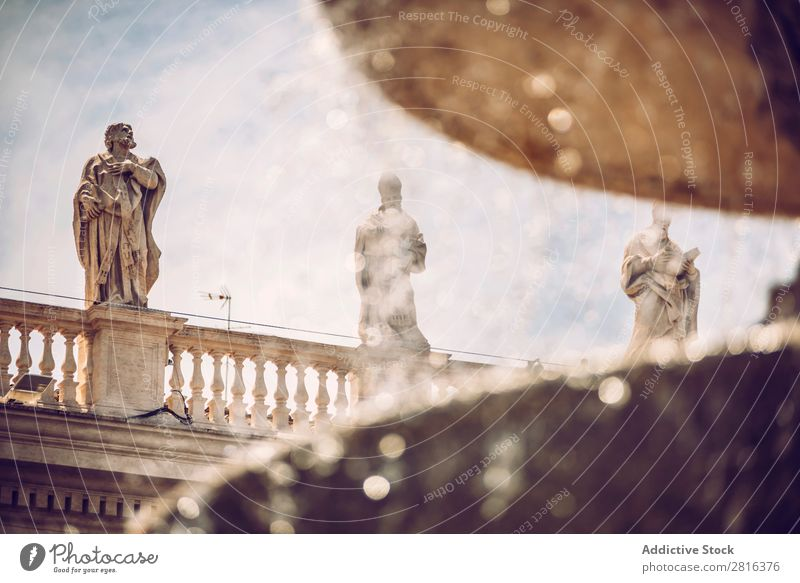 Detail of fountain on the Saint Peter Square (Piazza San Pietro), in Vatican, Rome, Italy. Places Italian Cathedral Bowl Vacation & Travel