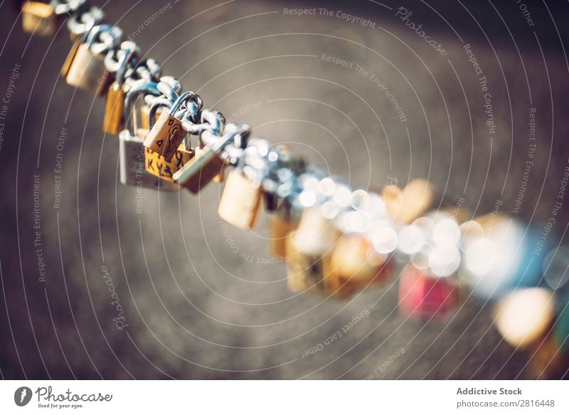 Locked locks of love and loyalty, with the names and date Access Black Chain Closed Close-up Conceptual design conceptual Drop Form (document) Heart Love
