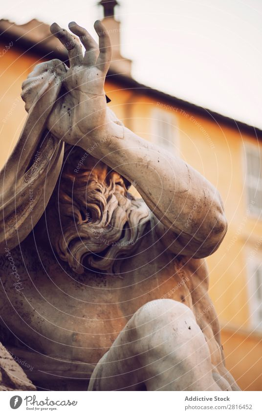 Detail of fountain in Piazza (square) Navona, Rome, Italy Places Fine God Greek navona Art arts Italian Classical Square Town Sculpture Western River