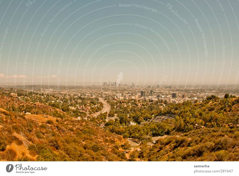 Vacation & Travel City Summer Far-off places Freedom Horizon Large Tourism Vantage point Hill Skyline Downtown California Outskirts City trip Hollywood