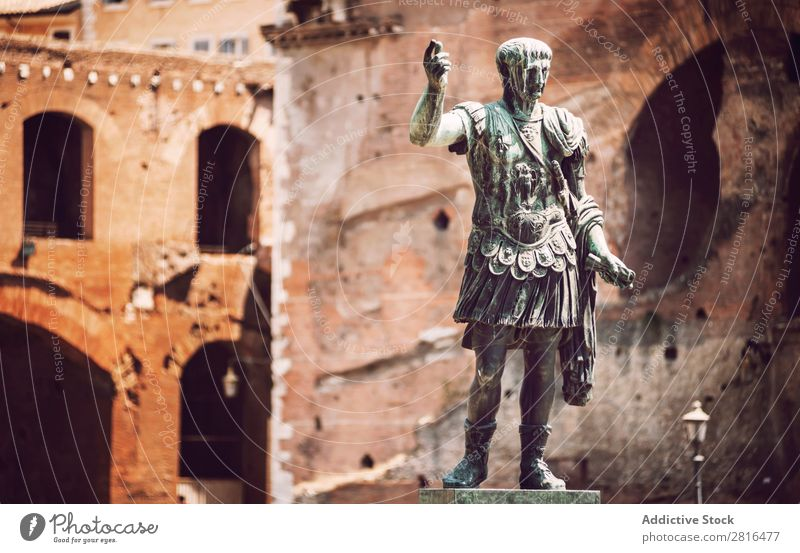 Statue of roman emperor Trajan in Rome, Italy Street Close-up Old Vintage Detail European Exterior shot Ancient Italian Destination Vacation & Travel