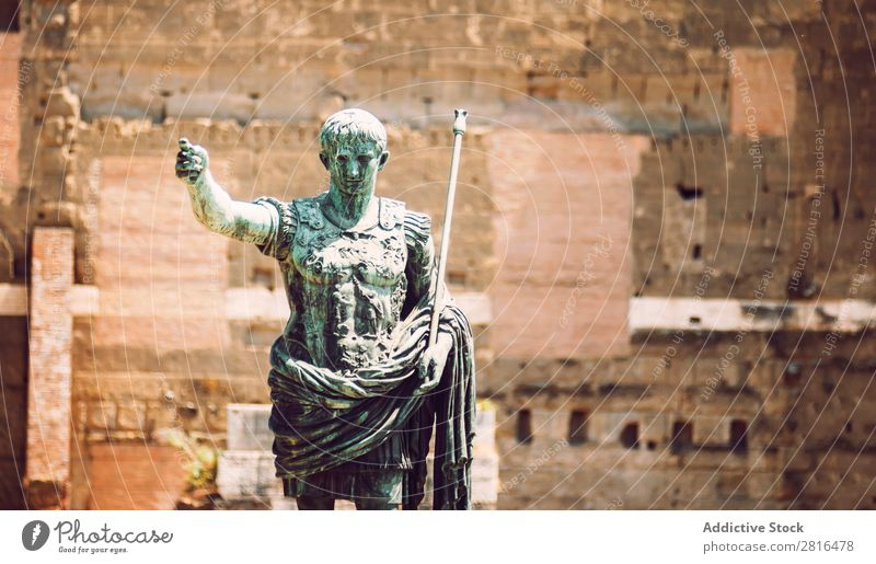Statue of roman emperor August, in Rome, Italy Street Close-up Old Vintage Detail European Exterior shot Ancient Italian Destination Vacation & Travel