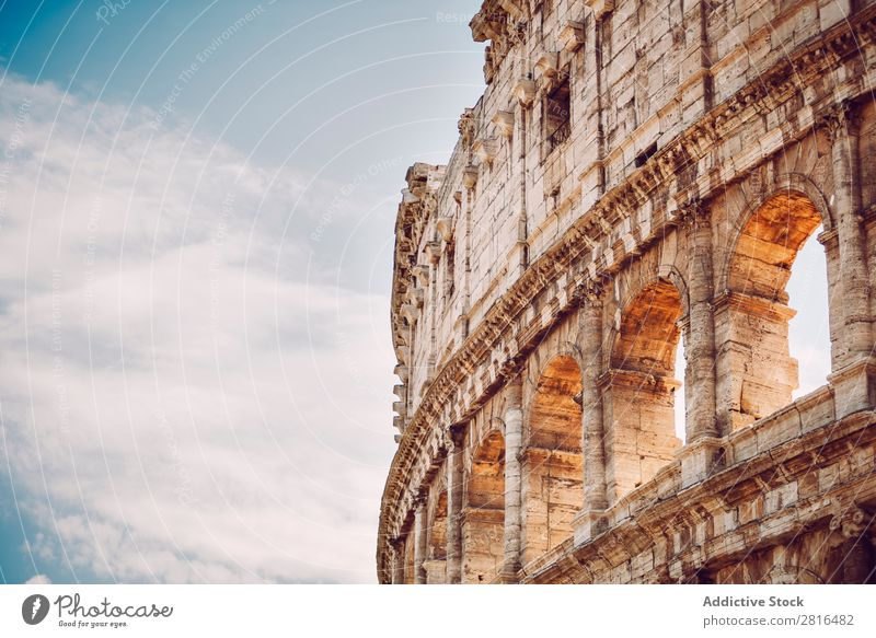 Colosseum close-up detail, Rome, Italy italia Close-up Empire Italian historical Stone White Vacation & Travel Sunrise Archeology European Landmark Culture