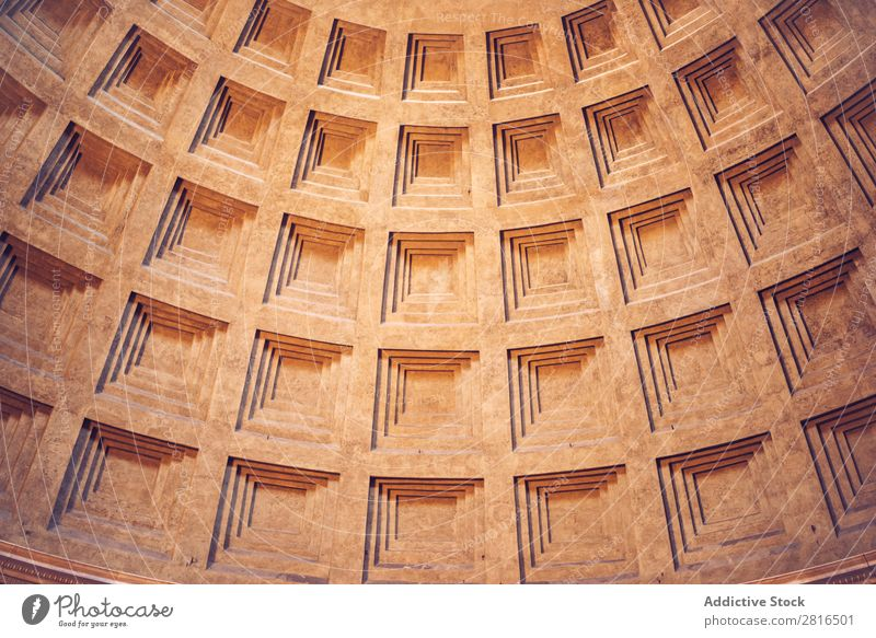 Interior of Rome Agrippa Pantheon, Italy. Texture background Light Dome domed Landmark Roof Interior design Detail Italian Sunbeam historical Stone