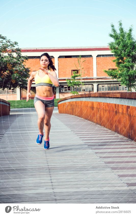 Running woman is jogging in sunny bright light on sunrise Youth (Young adults) Sunset Sports Bright Jogger Runner Exterior shot Marathon Athletic Wellness