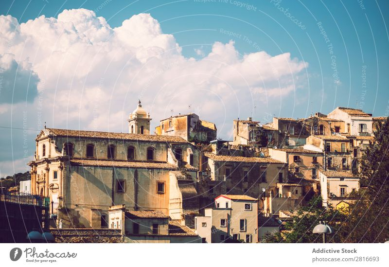 View of Ragusa, Sicily, Italy Dubrovnik Cathedral Dome Church Building Street House (Residential Structure) Landmark City Europe Tower Vantage point