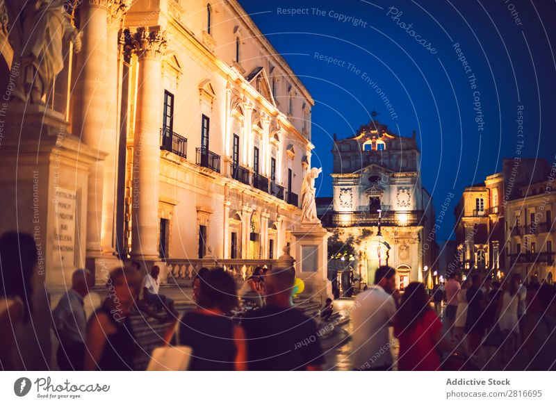 SIRACUSE, ITALY - JULY 18, 2016: Siracusa Dome Square with tourists at night, in JULY 18, 2016, on Siracuse, Sicily, Italy Night Places Italian Island Window