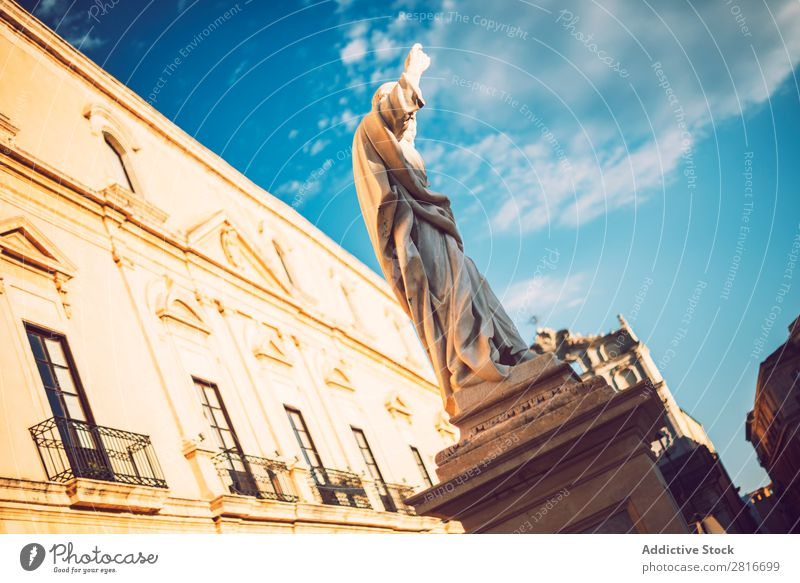 Detail view of Syracuse, Sicily, Italy siracusa Italian Sculpture Archeology Architecture Greek Monumental Tourism artistic Style Sicilian Column architectonic