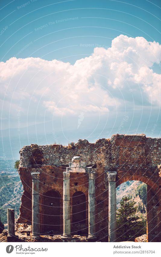 Detail view of Taormina, Sicily, Italy etna Italian Ocean Island Mountain Theatre Vantage point Old Greek Village Historic Architecture Amphitheatre Tourism