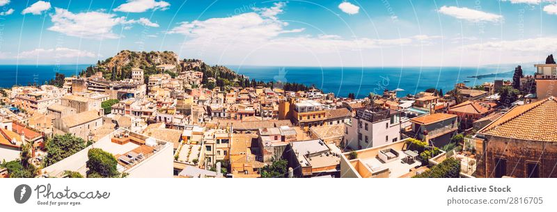 Panoramic view of Taormina, Sicily, Italy etna Italian Ocean Island Mountain Theatre Vantage point Old Greek Village Historic Architecture Amphitheatre Tourism
