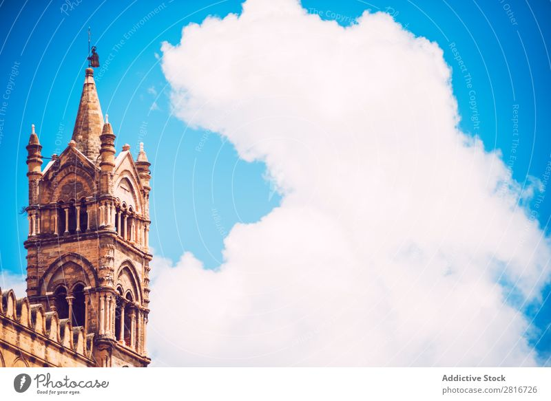 Palermo Cathedral texture background Italian Decoration Tower medieval historical Italy Christianity European Landmark Historic Old Twin Building