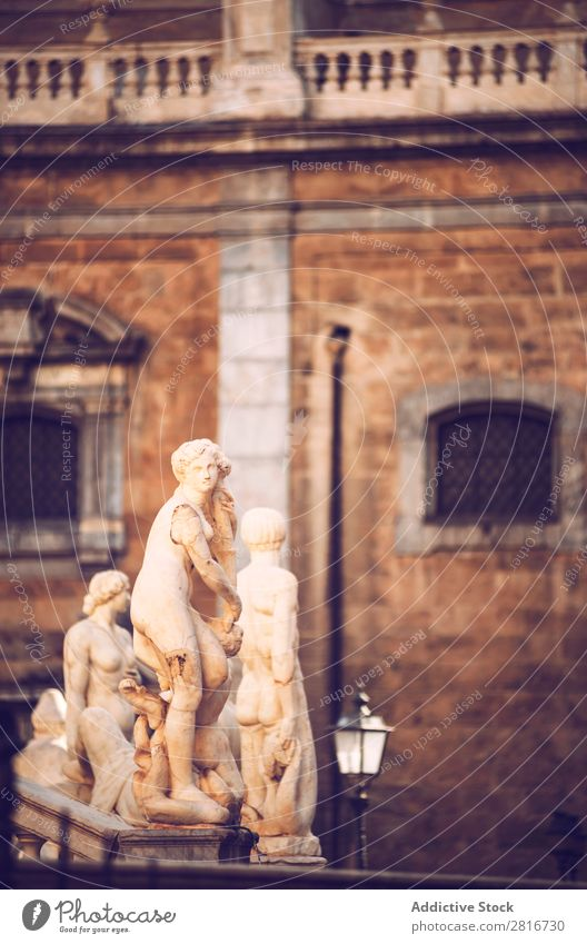 Detail view of baroque fountain with nude statues on piazza Pretoria in Palermo, Sicily, Italy Italian Fountain Sculpture Vacation & Travel Statue Marble