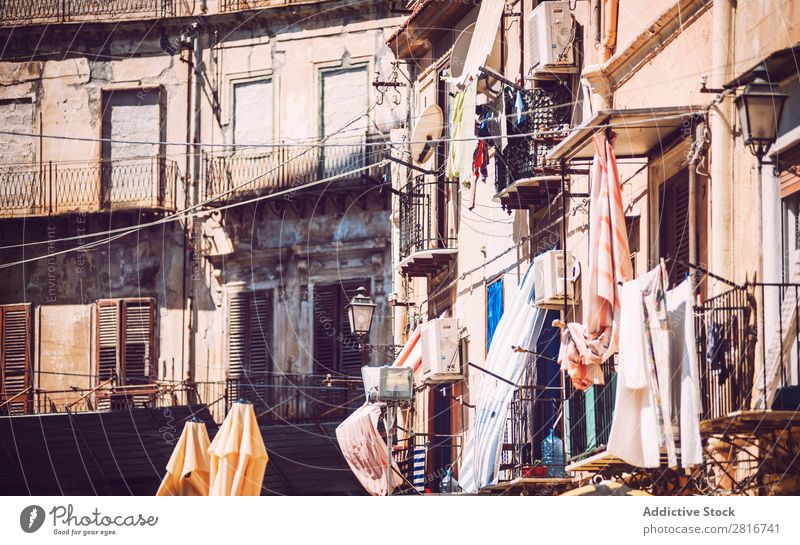 City view detail of Palermo city, Sicily, Italy Street Architecture Characteristic Culture Balcony Ancient