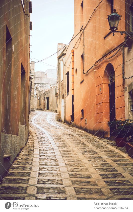 The town of Erice, Sicily, Italy, on a foggy day. Detail view Street Fog Cold streetlight Mediterranean Pavement medieval erice Loneliness Ancient Italian Stone