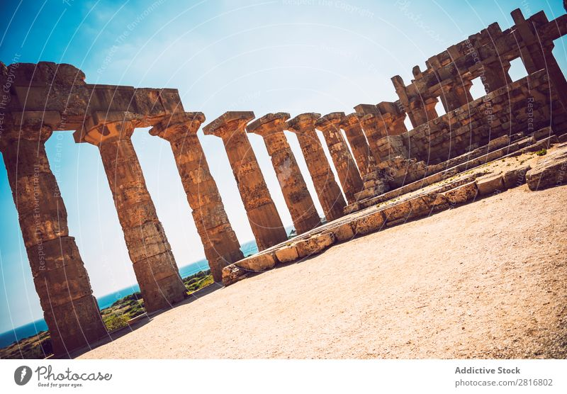 Ancient Greek temple in Selinunte, Sicily, Italy. Detail view. Agrigento sicilia hellenistic Stone Vacation & Travel Sicilian Landmark Column doric touristic