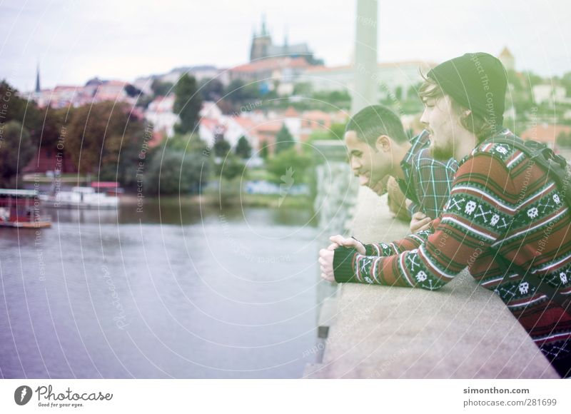 excursion to prague Masculine Young man Youth (Young adults) 2 Human being 18 - 30 years Adults Friendship Prague Czech Republic Bridge River Thunder Castle