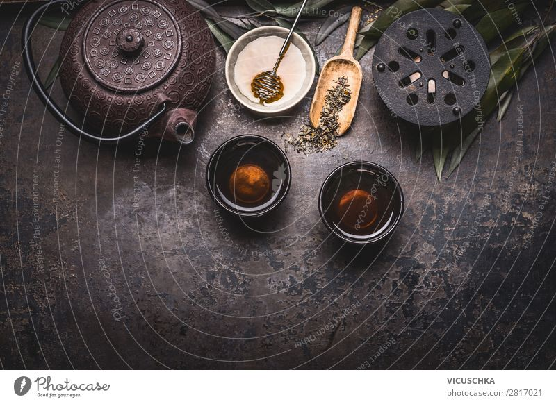 Asian green tea with teapot, bowls, candle Food Asian Food Beverage Hot drink Tea Crockery Design Healthy Eating Restaurant Background picture Vintage Zen