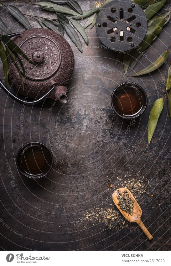 Traditional Asian Tea Set Background Food Asian Food Beverage Hot drink Style Design Healthy Eating Background picture Vintage Zen Green tea Teapot Dark Rustic