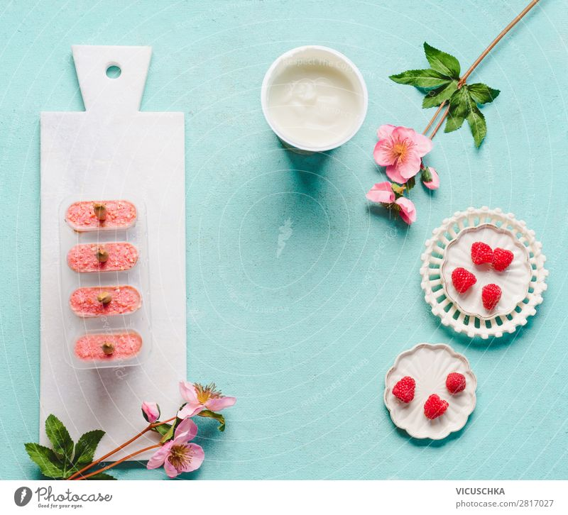 Healthy Eating Summer Food photograph Background picture Style Pink Fruit Design Nutrition Table Ice cream Cool (slang) Vitamin Raspberry Yoghurt