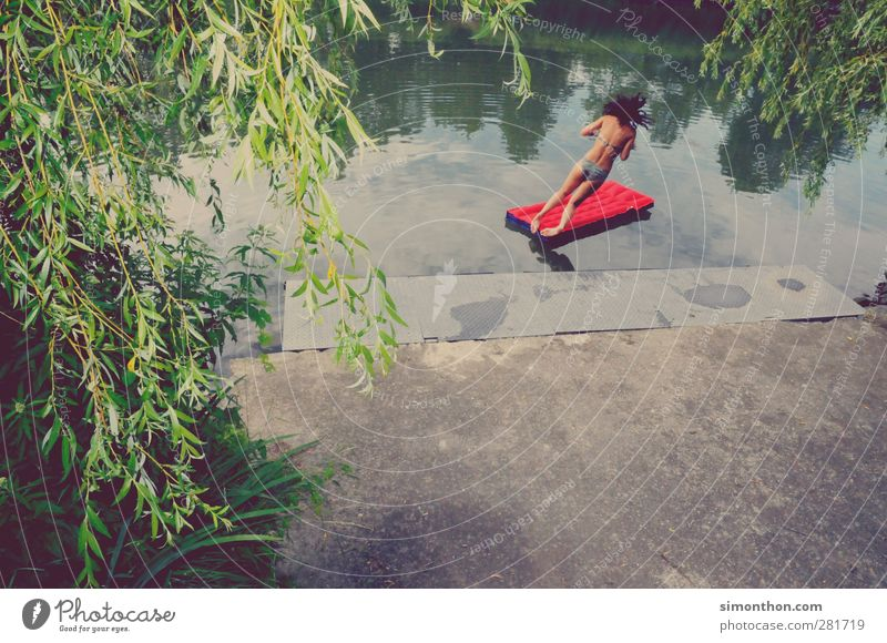 jump in the wet Joy Happy Swimming & Bathing Leisure and hobbies Vacation & Travel Trip Freedom Camping Summer Summer vacation Sun Feminine Young woman