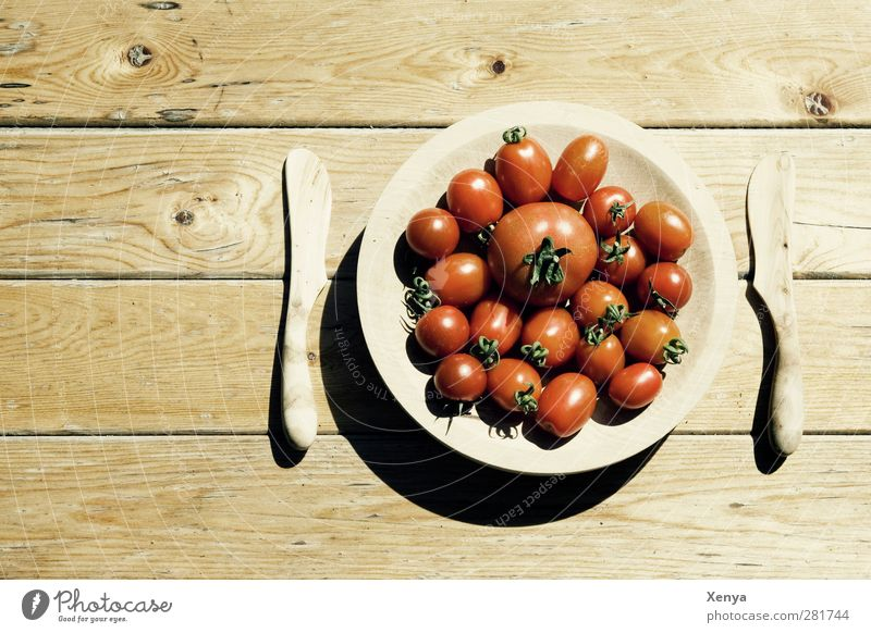 tomato diet Food Vegetable Tomato Nutrition Diet Plate Knives Wood Retro Brown Red Exterior shot Deserted Copy Space left Day