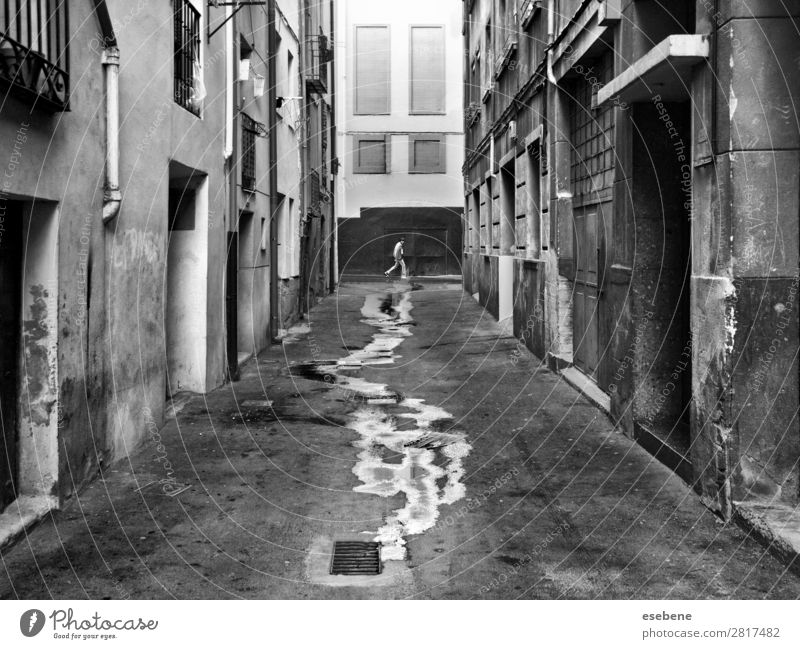 Walking on wet street Human being Masculine Man Adults Energy Discover Climate Target Street Street life Stairs Wet Black & white photo Exterior shot Morning