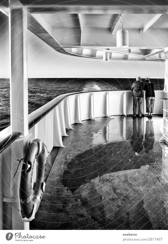 Couple on a cruise Navigation Cruise Passenger ship Cruise liner Discover Swimming & Bathing Looking Vacation & Travel Love Black & white photo Exterior shot