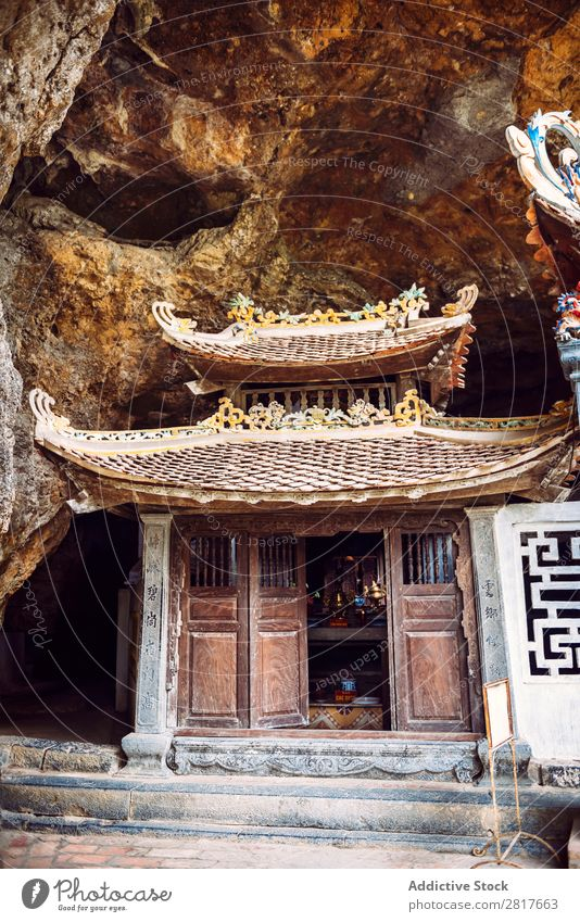 Bich Dong Pagoda in Ninh Binh, Vietnam. Trung Pagoda (middle pagoda) bich hoa dong lu tam coc binh Cave ninh Exterior shot Tower Cathedral Stone Gate oriental