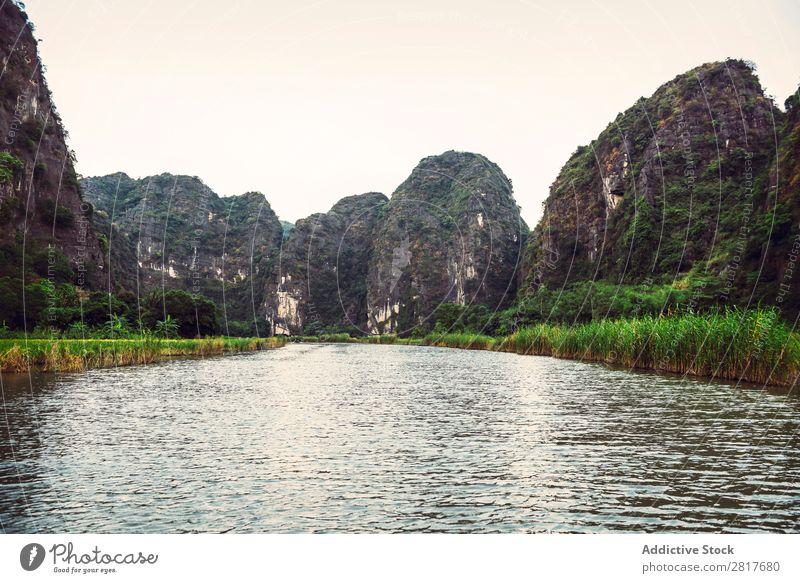 Landscape Vietnam. River view in the dim light of dusk at Ninhbi Asia asian Banana Beautiful Watercraft tam coc Can Tho cho ninh binh ninhbinh Culture Delta