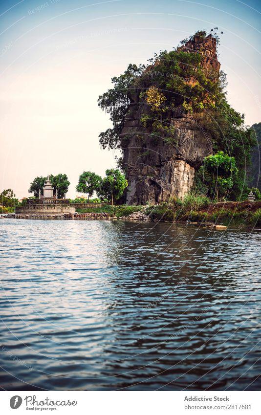 Landscape Vietnam. River view in the dim light of dusk at Ninhbinh, Tam Coc, Vietnam Asia asian Banana Beautiful Watercraft tam coc Can Tho cho ninh ninhbinh